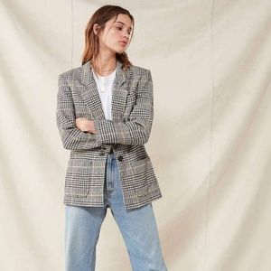 Retro Oversized Plaid Blazer Medium